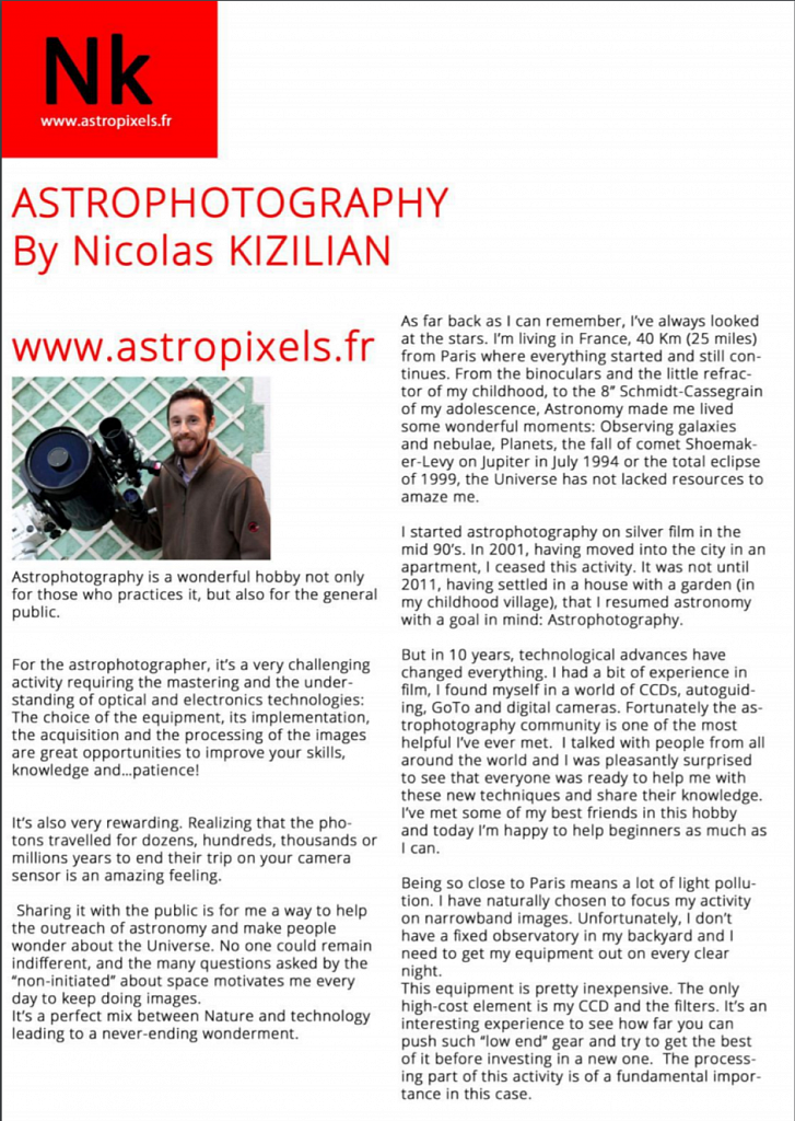 An article about me in Astrophotography Magazine N°44