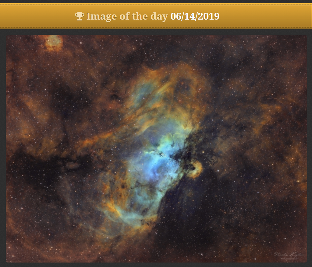 The Eagle Nebula - Astrobin Image Of The Day - June 14th, 2019